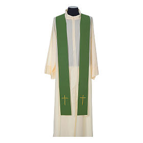 Wool chasuble with IHS floral decorations on velvet galloon s9