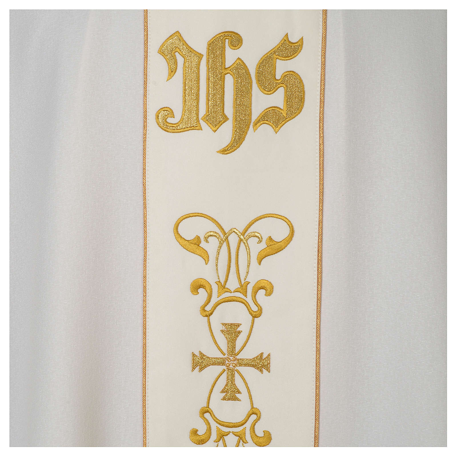 Chasuble 100% polyester with satin orphrey and IHS symbol, ivory 4