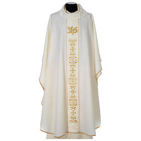 Chasuble 100% polyester with satin orphrey and IHS symbol, ivory s1