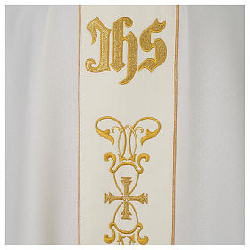 Chasuble 100% polyester with satin orphrey and IHS symbol, ivory s2