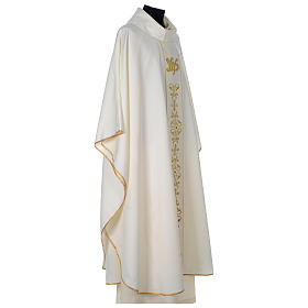 Chasuble 100% polyester with satin orphrey and IHS symbol, ivory s4