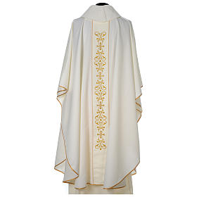 Chasuble 100% polyester with satin orphrey and IHS symbol, ivory s5