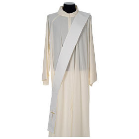 Chasuble 100% polyester with satin orphrey and IHS symbol, ivory s6