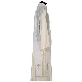 Chasuble 100% polyester with satin orphrey and IHS symbol, ivory s7