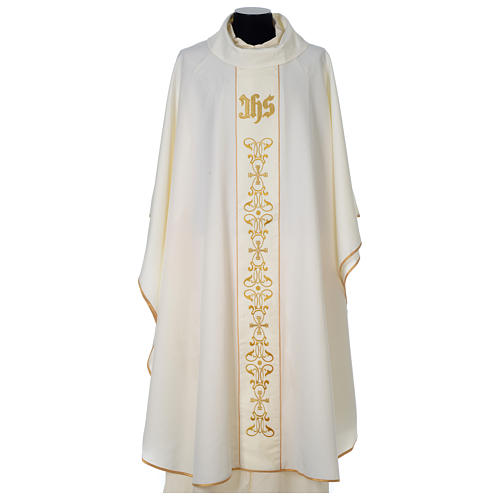 Chasuble 100% polyester with satin orphrey and IHS symbol, ivory 1