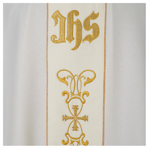 Chasuble 100% polyester with satin orphrey and IHS symbol, ivory 2