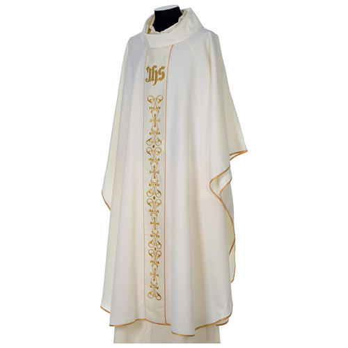 Chasuble 100% polyester with satin orphrey and IHS symbol, ivory 3