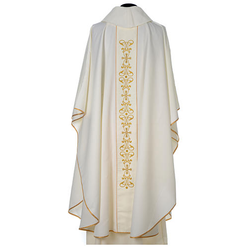 Chasuble 100% polyester with satin orphrey and IHS symbol, ivory 5