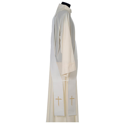 Chasuble 100% polyester with satin orphrey and IHS symbol, ivory 7
