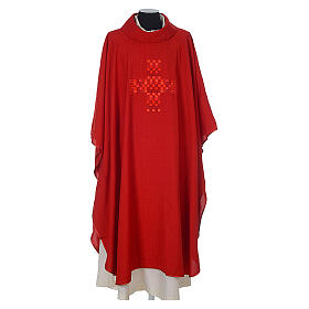 Chasuble 100% polyester with embroidered Cross s4