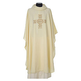 Chasuble 100% polyester with embroidered Cross s5