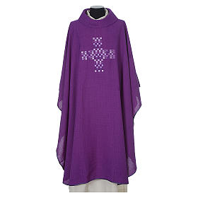 Chasuble 100% polyester with embroidered Cross s6