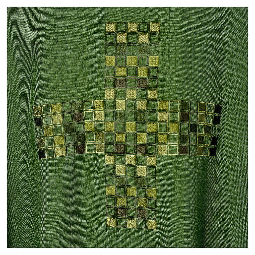 Casula 100% poliestere Croce quadri ricamata 4