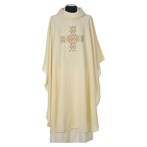 Casula 100% poliestere Croce quadri ricamata 5