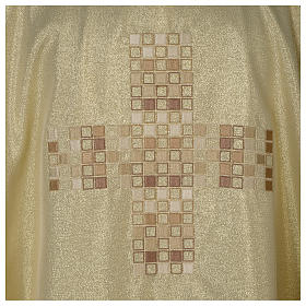 Chasuble in polyester with Cross embroidery, gold s2