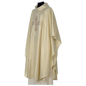Chasuble in polyester with Cross embroidery, gold s3