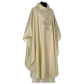 Chasuble in polyester with Cross embroidery, gold s4