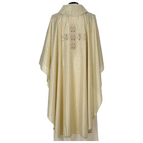 Chasuble in polyester with Cross embroidery, gold s5