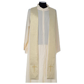Chasuble in polyester with Cross embroidery, gold s6