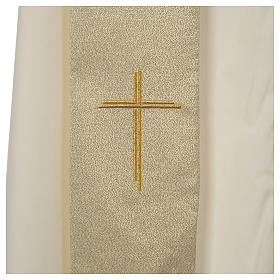 Chasuble in polyester with Cross embroidery, gold s7
