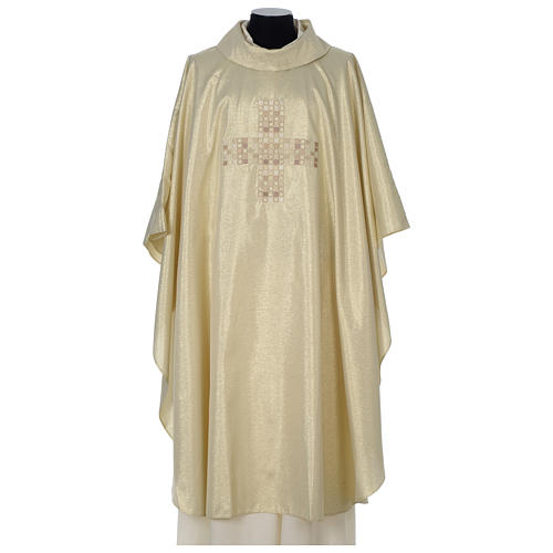 Chasuble in polyester with Cross embroidery, gold 1