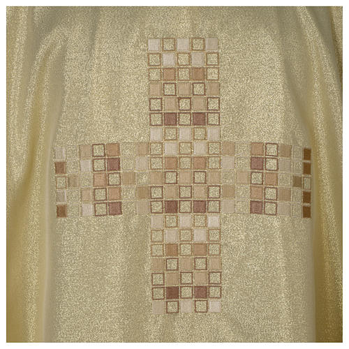 Chasuble in polyester with Cross embroidery, gold 2