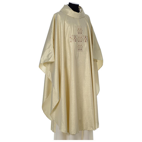 Chasuble in polyester with Cross embroidery, gold 4