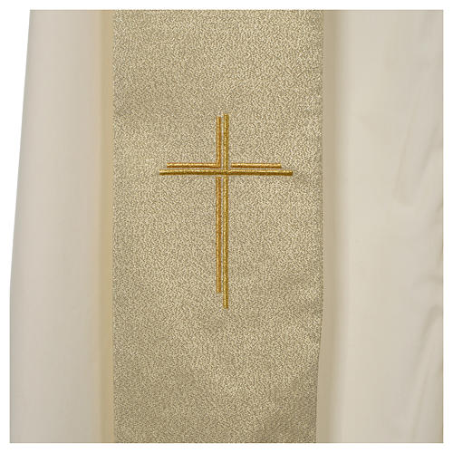 Chasuble in polyester with Cross embroidery, gold 7