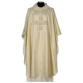 Casula Oro 100% poliestere Croce quadri ricamata s1