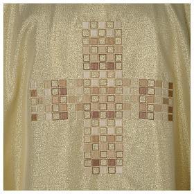 Casula Oro 100% poliestere Croce quadri ricamata s2