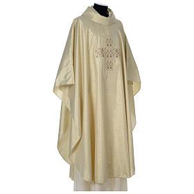 Casula Oro 100% poliestere Croce quadri ricamata s4