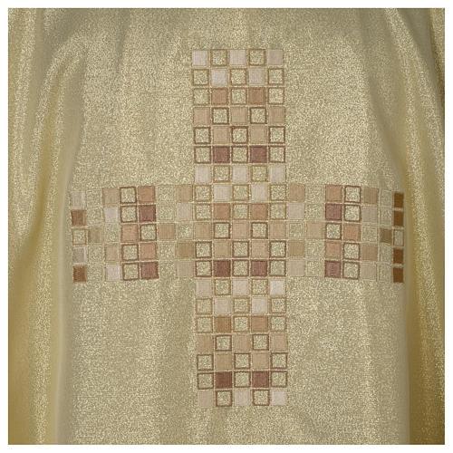 Casula Oro 100% poliestere Croce quadri ricamata 2