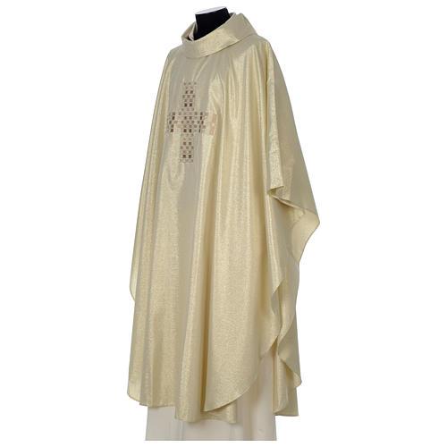 Casula Oro 100% poliestere Croce quadri ricamata 3
