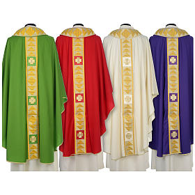 Chasuble 100% wool with crosses and Swarovski crystals s2