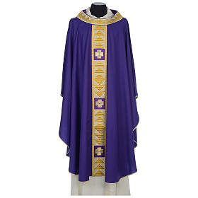 Chasuble 100% wool with crosses and Swarovski crystals s6