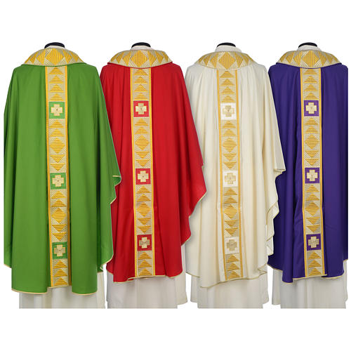 Chasuble 100% wool with crosses and Swarovski crystals 2