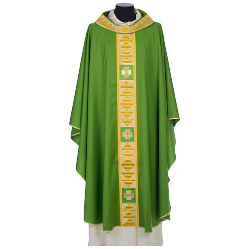 Chasuble 100% wool with crosses and Swarovski crystals 3