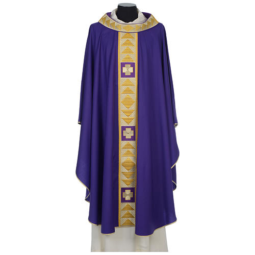 Chasuble 100% wool with crosses and Swarovski crystals 6