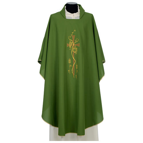 Chasuble in polyester with cross, grapes and wheat decoration 1