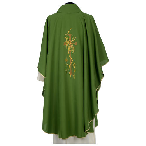 Chasuble in polyester with cross, grapes and wheat decoration 2