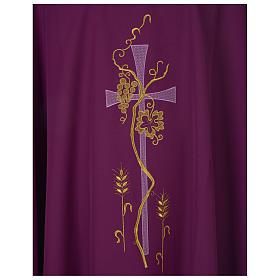 Chasuble 100% polyester Bourgogne croix vigne épis s2
