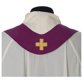 Chasuble 100% polyester Bourgogne croix vigne épis s8