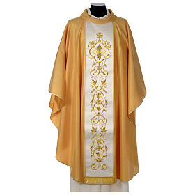 Chasuble or bande centrale pure laine or s1