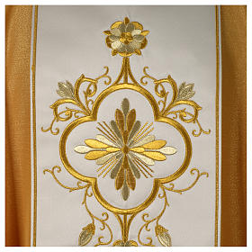 Chasuble or bande centrale pure laine or s2