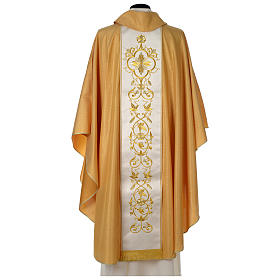 Chasuble or bande centrale pure laine or s5