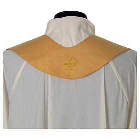Chasuble or bande centrale pure laine or s8
