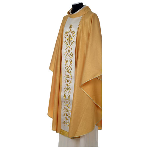 Chasuble or bande centrale pure laine or 3