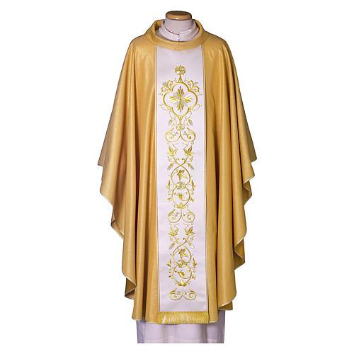 Casula oro con stolone pura lana decoro 1