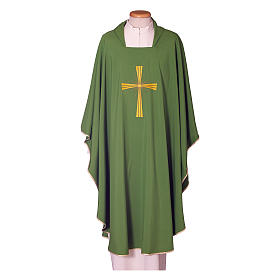 Chasuble in polyester with machine embroidery on front and back s1