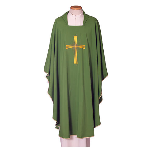 Chasuble in polyester with machine embroidery on front and back 1